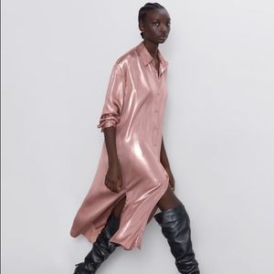 ZARA PINK METALLIC EFFECT LONG SHIRT DRESS NEW L